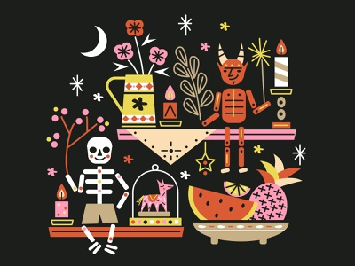 Huesitos de Pollo y El Chamuco dribbbleweeklywarmup halloween diadelosmuertos illustration