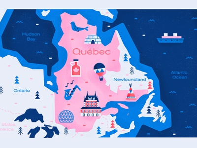 Quebec illustration map canada quebec
