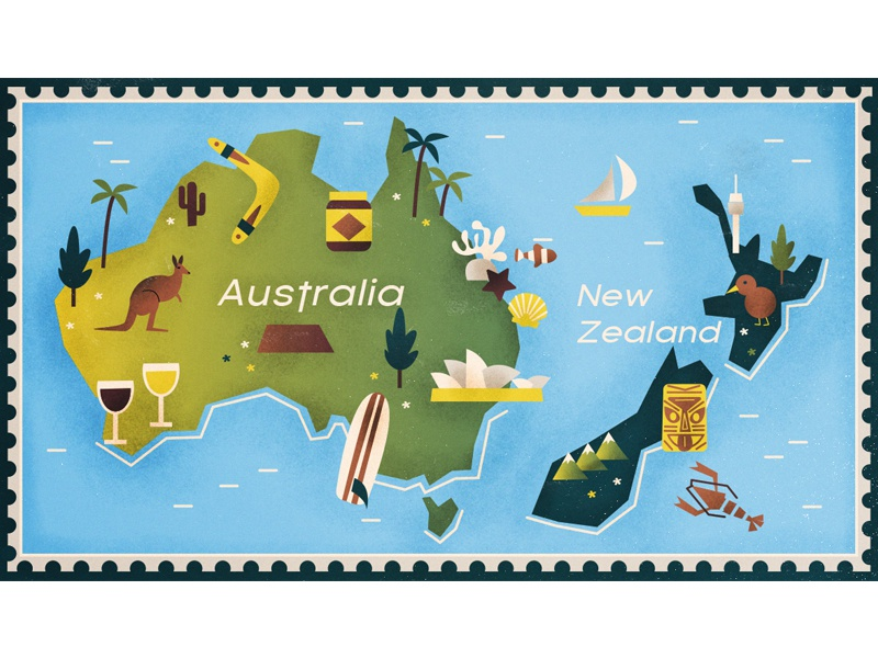 Australia & New Zealand map by Victoria Fernandez | Dribbble | Dribbble