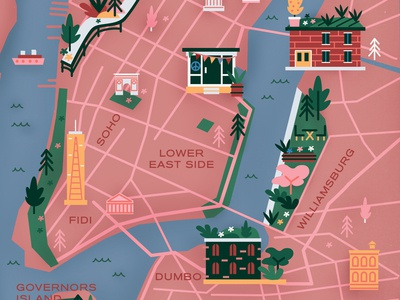NYC for Les Echos nyc editorial illustration illustration map