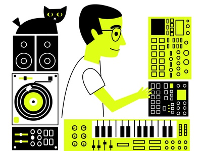Marcos cat synthesis retro illustration