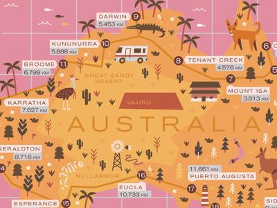 Australia illustration map australia