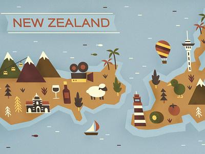 New Zealand retro illustration new zealand map