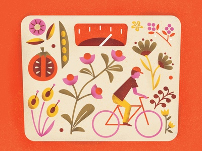 Health food bike cicle heath illustration