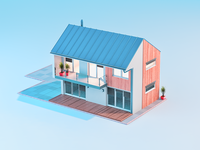 Stylized house render with dummy house