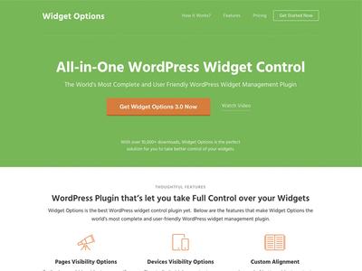WordPress Widget Options Plugin Landing Page page web landing product wordpress plugin landing page