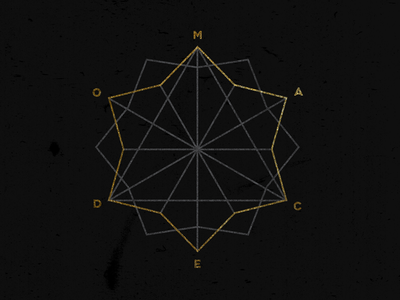 Macedo in the Dark type logo black branding gold
