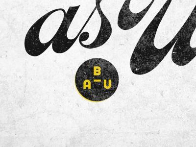 BAU bau logo type vintage script circle