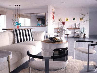 Tainer House interior concept archviz design interior branding