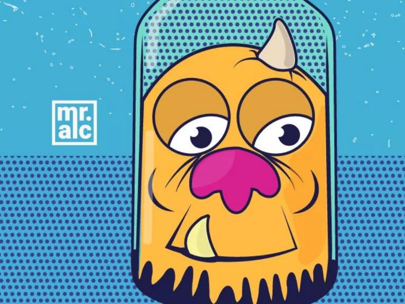 Ilustración el monstruo de la botella (Diseño de personajes) illustrator