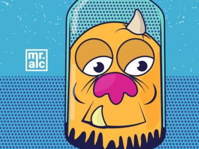 Ilustración el monstruo de la botella (Diseño de personajes)