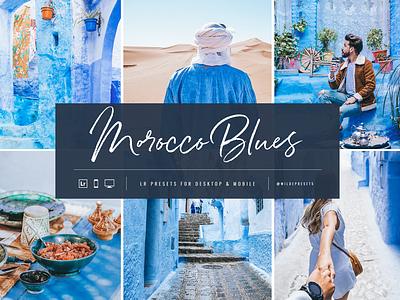 Morocco Blues Lightroom Presets by Wilde Presets moroccan blue masculine feminine travel blogger blogger ui ux illustration font typography layout design logo branding desert lightroom presets mobile presets travel presets travel morocco