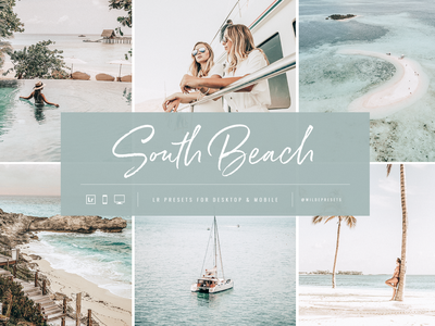 South Beach Lightroom Presets by Wilde Presets blue ux ui layout script typography logo fashion mobile presets lightroom presets branding travel presets lifestyle summer beach palm trees tropic tropical miami south beach