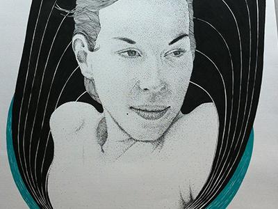untitled pointillism acrylic pen illustration ink handmade vintage girl paper