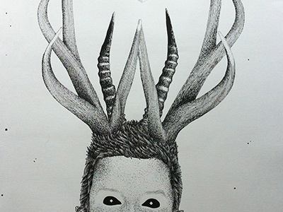 My Imagination Runs Wild pointillism acrylic pen illustration ink handmade vintage paper