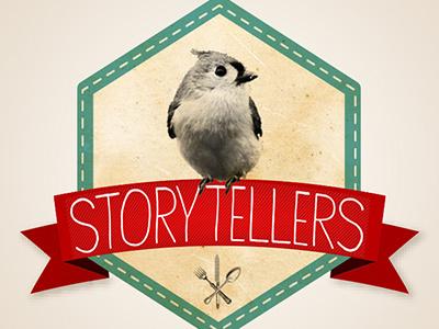 Logo Sketch Storytellers catering logo handmade vintage bird badge