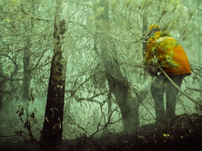 burning backlash fire woods forest photography firefighter helicopter analogue lomography