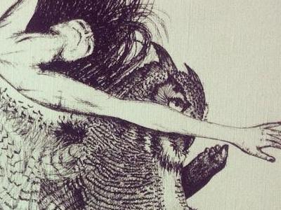 Flight pattern illustratiom pen paper owl dancer flight pattern handmade