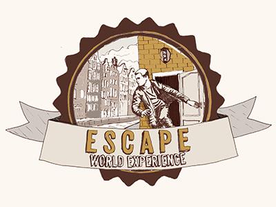 Escape logo escape logotype amsterdam adventure mistery pen illustration