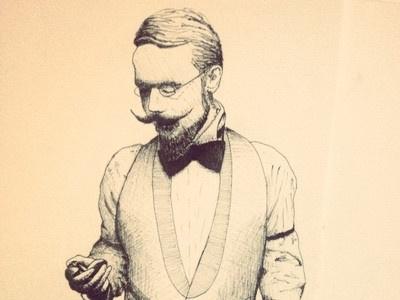 18th century hipster moustache vintage hipster drawing pen illustration