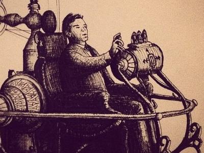 Time machine machine vintage time drawing pen illustration