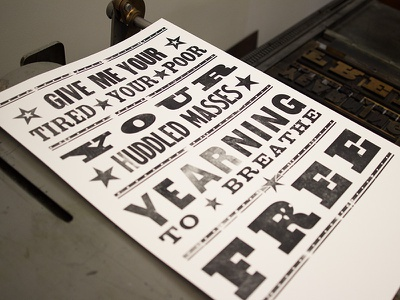 Huddled Masses wood type letterpress resist