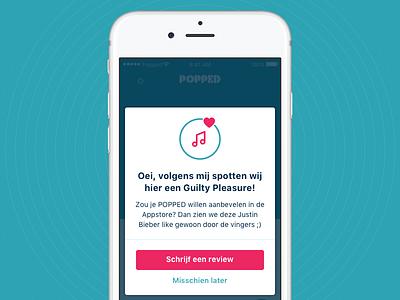 Guilty Pleasure review like modal app app design