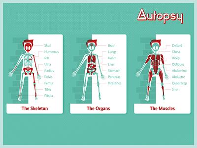 Autopsy Cards vector branding flat illustrator illustration design