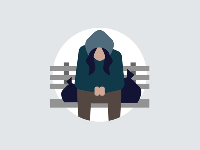 Plight of the homeless park bench poor depressed sad hoodie woman homelessness homeless