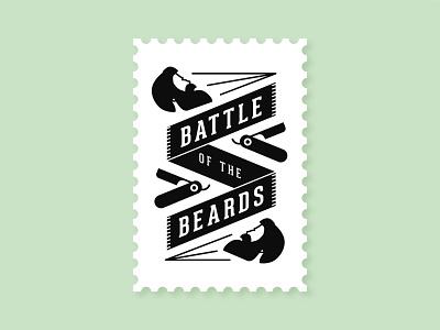 Battle of the Beards battle shave hipster moustache no shave november barber stamp logo razor beard