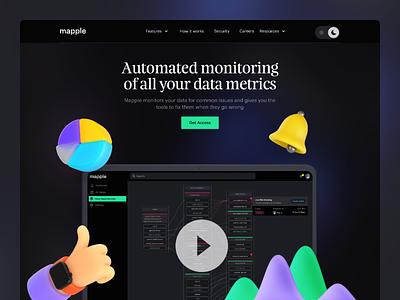 Saas Landing Page dashboard 3d art illustraion dark mode dark theme marketing saas website saas website design explore data darkui concept marketing website