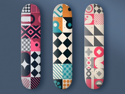 Geometric Decks design skateboards vector illustration triangles circles geometric colors patterns