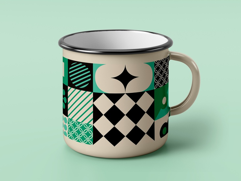 Geometric Mug cup mug vector illustration design triangles circles geometric patterns