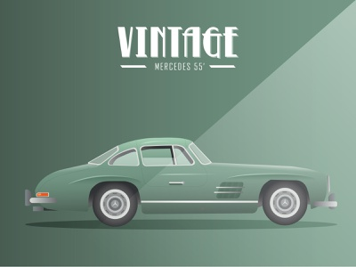 Vintage Cars - Mercedes 55 design vintage car cars illustration vector illustrator adobe illustrator