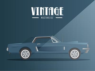 Vintage Cars - Mustang 65 mustang vintage cars car illustration vector illustrator adobe illustrator
