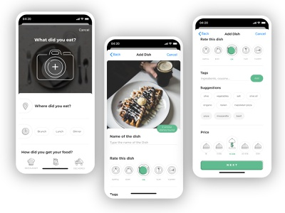 Food App - Add Dishes minimal foodie food user interface design user experience user interface interface apple design app app design figma ux design ui design ux ui