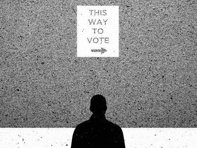 This Way To Vote vote poster print cmyk texture tyson reeder photo id politics black white illustration