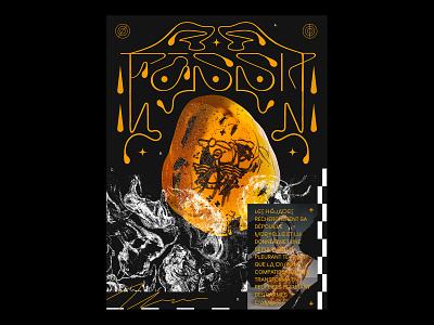 FOSSIL Poster font design type logo mineral stone branding poster render design illustration 3d