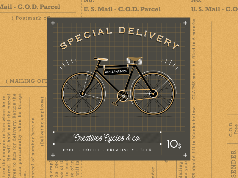 Creative Cycles retro bike delivery font line cycle illustration