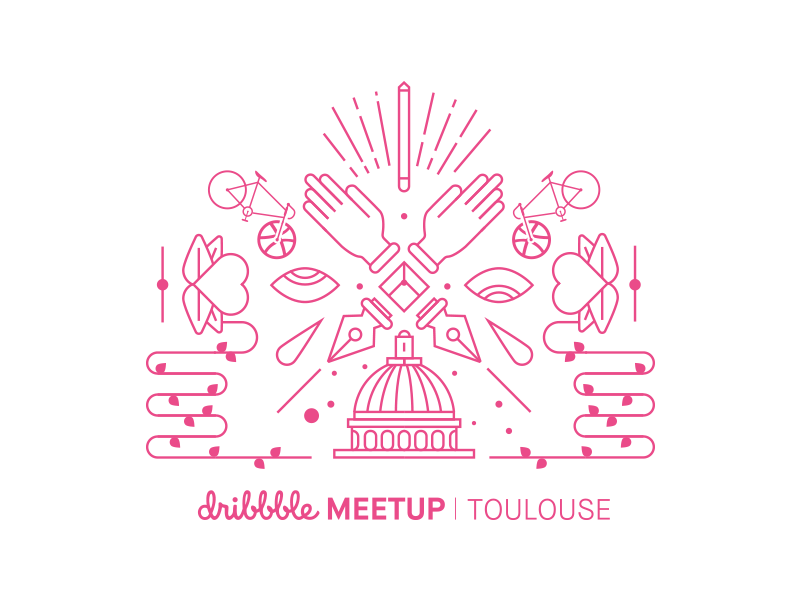 Dribbble Meetup Toulouse heart illustration city pencil hand line toulouse meetup dribbble