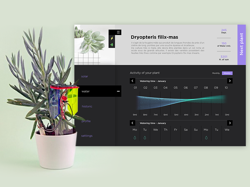 Sensor+Plant+Interface dashboard dark data statistic minimal app ui interface