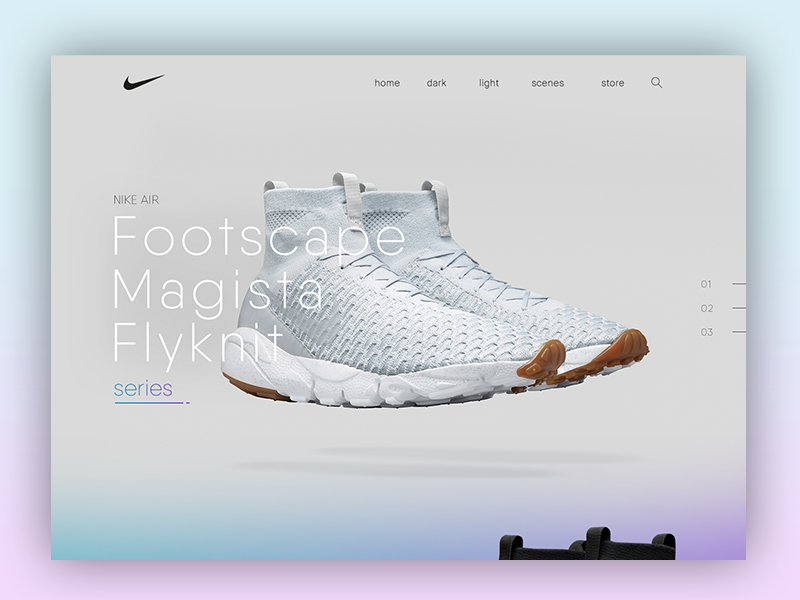 Nike Air Flyknit Magista website product webdesign ui ecommerce shop homepage nike shoes