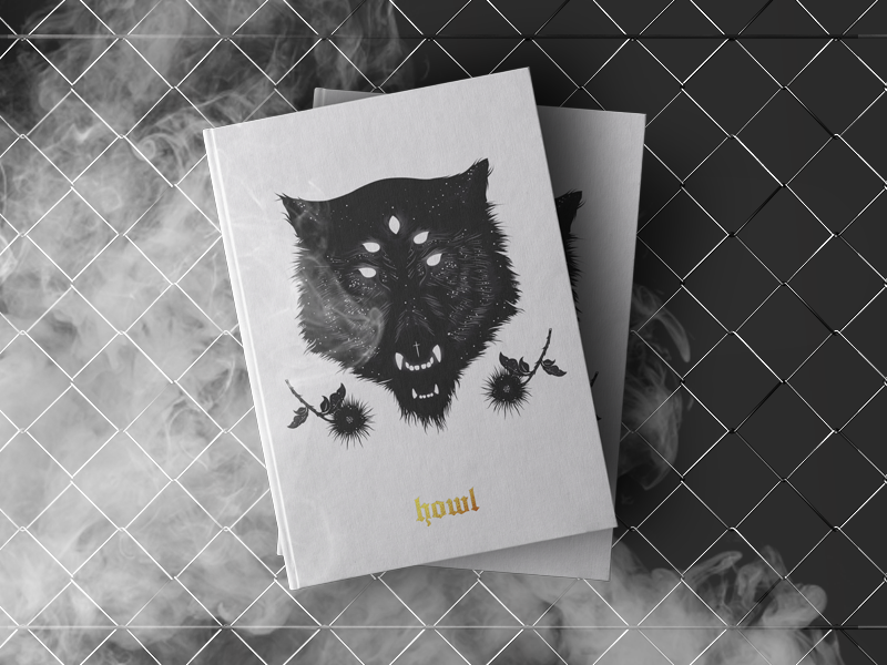 HOWL BOOK editorial cover white eyes smoke dark print concept roses illustration wolf book