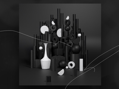 Objcts Ornaments cg pattern black contemporary lines minimal aesthetic graphic objects composition experiment concept 3d design c4d geometric prism
