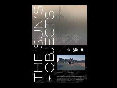 The Sun's Objects - Pt.I font installation hires nature rocs sand poster graphic contemporary black minimal experiment animation design c4d illustration 3d