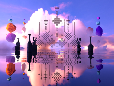 The sun's objects pt.II c4d lines atmosphere flying water scene contemporary objects sky rocs octane renderer 3d