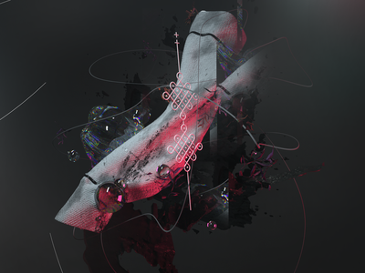 Abstract Ornament leaf scan glitch scene light scratch ornament octane abstract experiment c4d line 3d