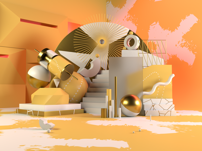 Abstract Composition shapes pattern abstract composition sculpture contemporary render scene concept c4d 3d