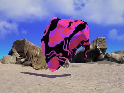 Acid Flying Towel summer beach rocks towel flying hires octane render animal snake scene pattern illustration experiment concept c4d 3d