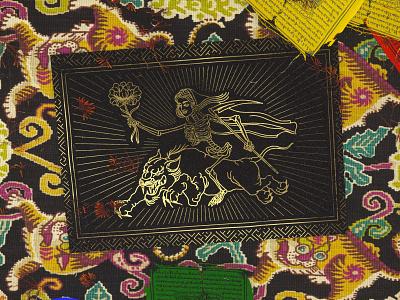 FIERCE QUEEN carpet flower panther tibetan flag cgi gold print render pattern design illustration line c4d 3d